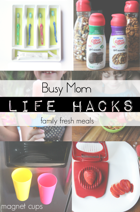 Collage image showing 4 different mom hack ideas