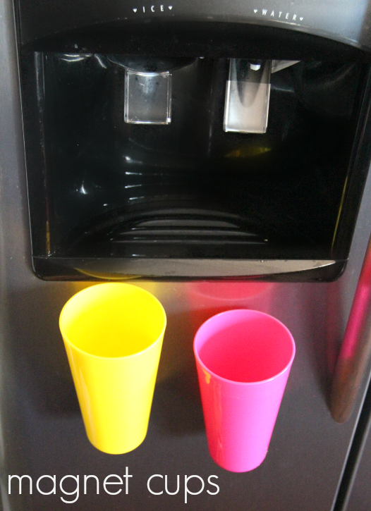 magnet cups on a refrigerator