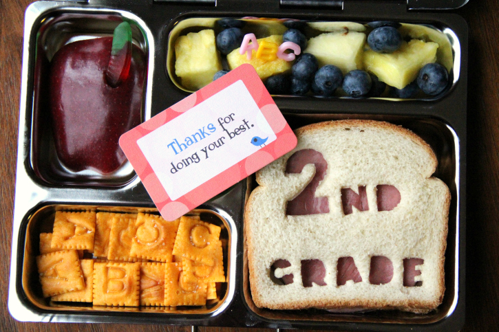 Rock the Lunchbox - School Lunchbox Ideas -First day fo school sandwich - FamilyFreshMeals.com