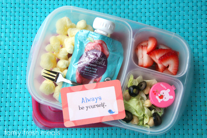 Rock the Lunchbox - School Lunchbox Ideas - smoothie and salad -  FamilyFreshMeals.com