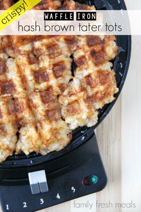 Waffle Iron Hash Brown Tater Tots - FamilyFreshMeals.com