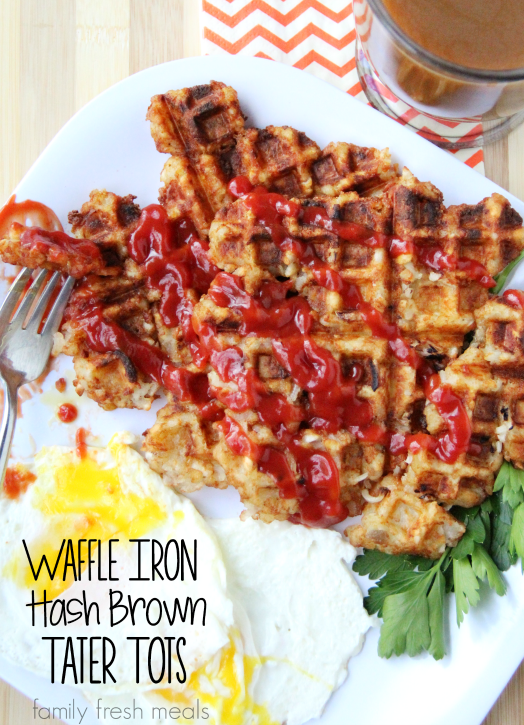 Waffle Iron Hash Brown Tater Tots - FamilyFreshMeals.com - fun breakfast idea!