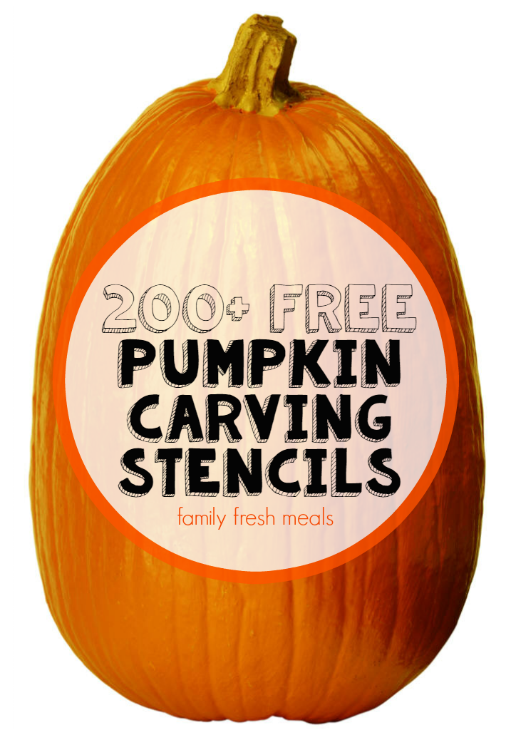 "A large pumpkin with the words ""200+ Free Pumpkin Carving Stencils"" on it"