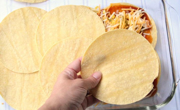 Adding another layer of tortillas