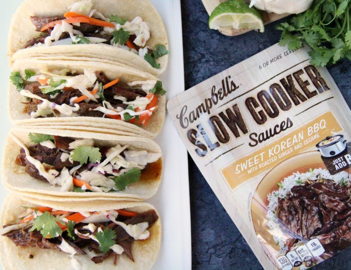 Easy Slow Cooker Korean BBQ Beef Tacos