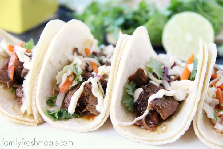 Easy Slow Cooker Korean BBQ Beef Tacos