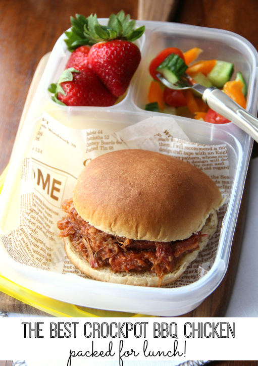 The Best Crockpot BBQ Chicken - packed for lunch! - School and Work Lunchbox Ideas -week 17 - FamilyFreshMeals.com