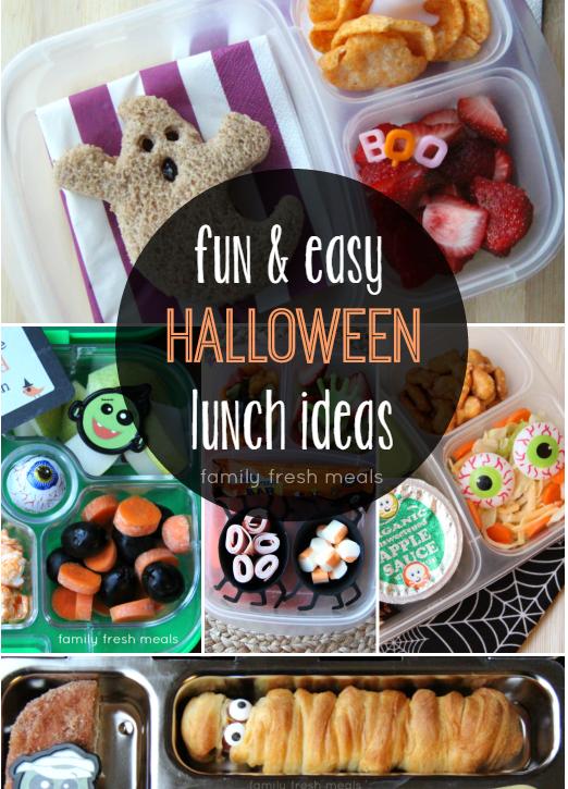 Fun Halloween School Lunch Box Ideas - FamilyFreshMeals.com - Super FUN and easy!