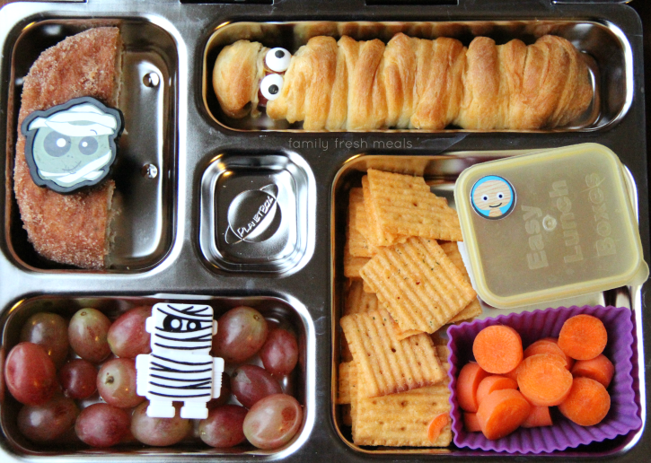 Fun Halloween Lunch Box Ideas -Mummy Lunch - FamilyFreshMeals