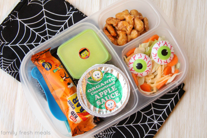 Fun Halloween Lunch Box Ideas -Spooky Salad -  FamilyFreshMeals.com