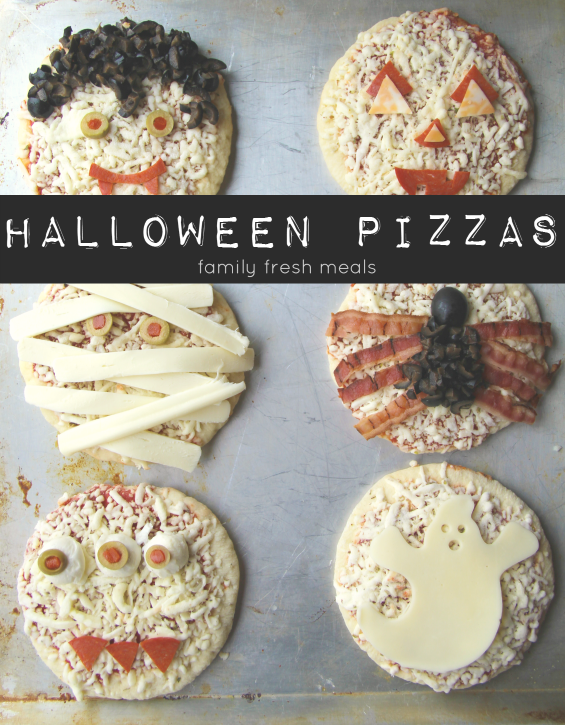 6 mini pizzas decorated in Halloween themes
