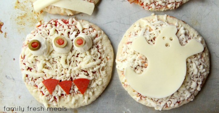 Fun Halloween Pizza Ideas - monster and ghost pizzas - familyfreshmeals.com