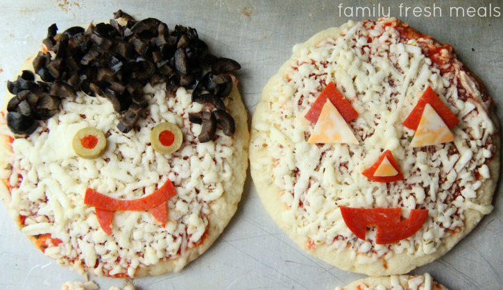 Fun Halloween Pizza Ideas - vampire and pumpkin pizzas - familyfreshmeals.com -