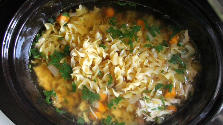 The Best Crockpot Chicken Noodle Soup - Add noodles into crockpot