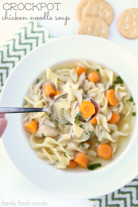 the best crockpot chicken noodle soup - familyfreshmeals.com -- the easiest homemade soup!