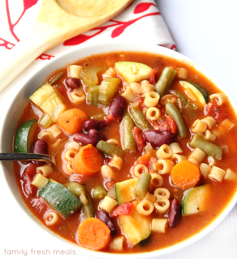Crockpot minestrone soup in a white bowl