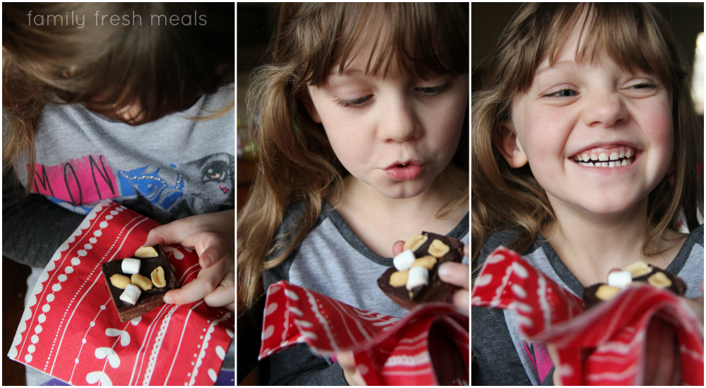 3 images of a child picking up a piece of fudge