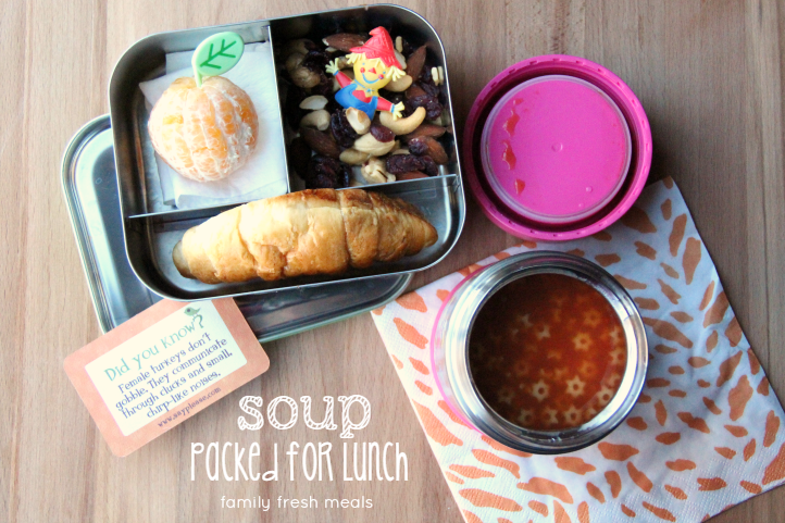 Fun Fall Lunchbox ideas  - How to pack soup for lunch - familyfreshmeals.com