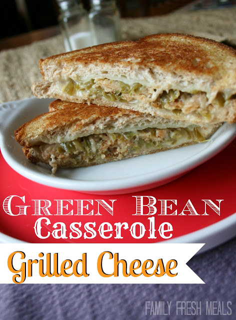 Green Bean Casserole Grilled Cheese sandwich, cut in half and on a plate