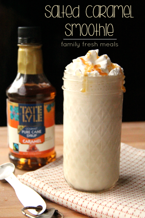 Salted Caramel Smoothie served in a glass with whipped cream and caramel