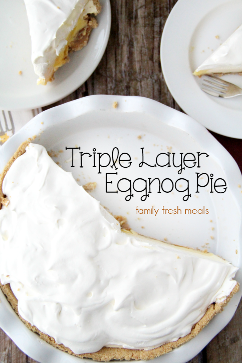 Triple Layer Eggnog Pie with a couple slices taken out