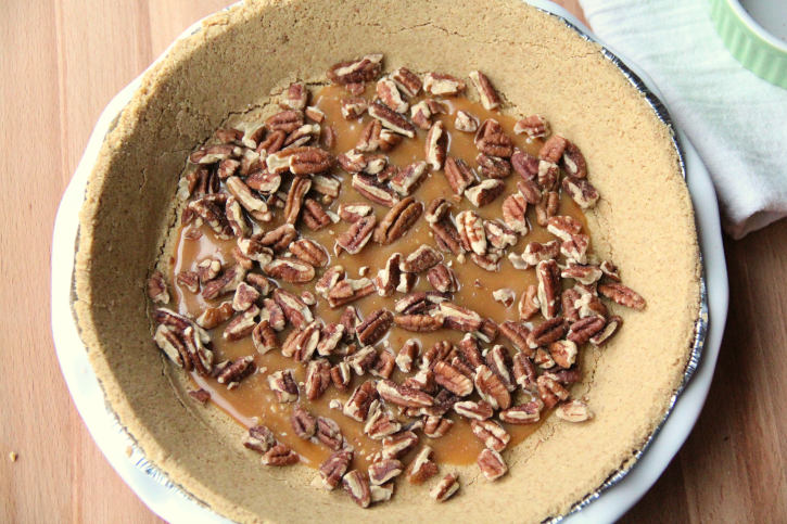 nuts added to the top of caramel layer