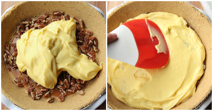 spreading pudding mixture over nuts/caramel layer