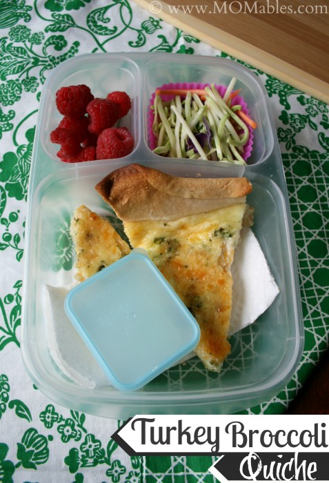 A piece of Turkey Broccoli Quiche packed in a lunchbox