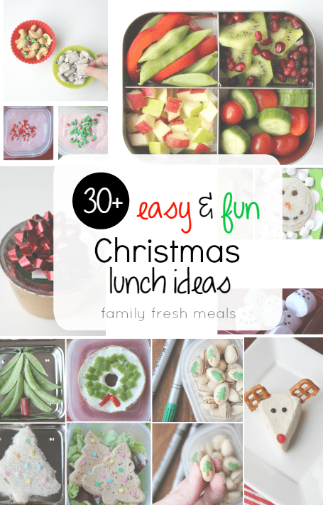 Collage image showing different holiday lunchbox ideas