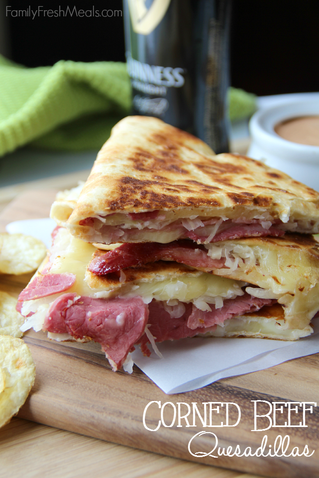 Must Try St Patrick's Day Recipes - Corned Beef And Cabbage Quesadilla - FamilyFreshMeals.com