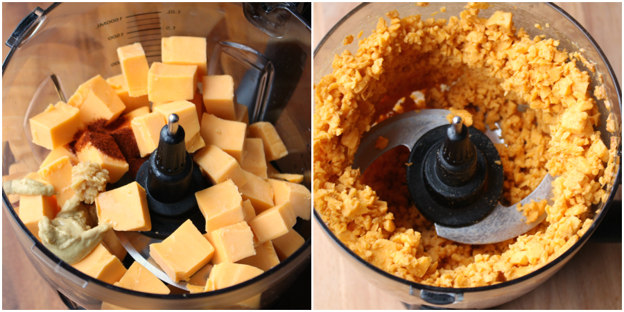 Pub Style Beer Cheese Dip - Cheese and spices in a food processor