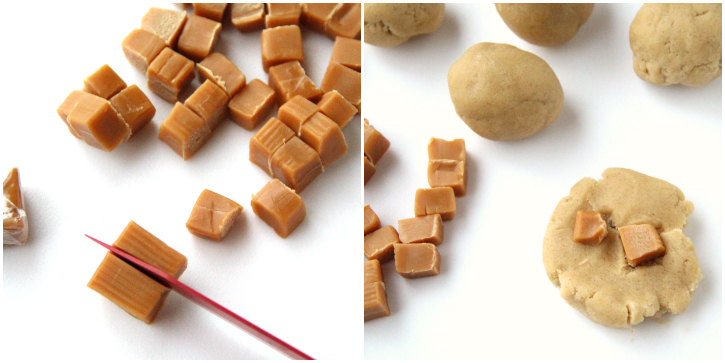 collage image showing caramels being cut and then placed inside cookie dough