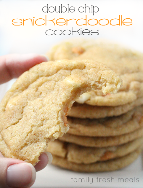 These Soft and Chewy Double Chip Snickerdoodle Cookies are THE BEST cookies. The combo of white chocolate and butterscotch in a snickerdoodle is amazing! via @familyfresh