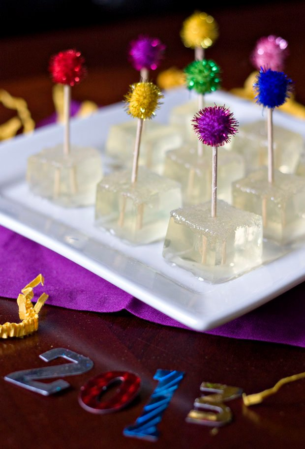 30 Easy Appetizers people LOVE - Champagne jello shots - FamilyFreshMeals.com