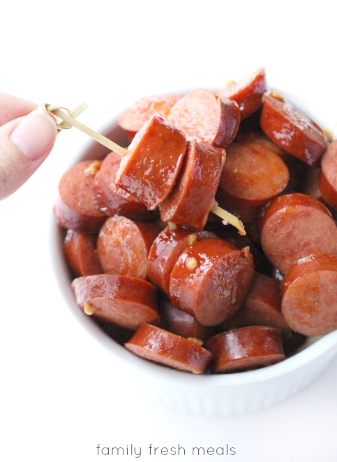 Crockpot Honey Garlic Polish Sausage - Easy Crockpot Appetizer - FamilyFreshMeals