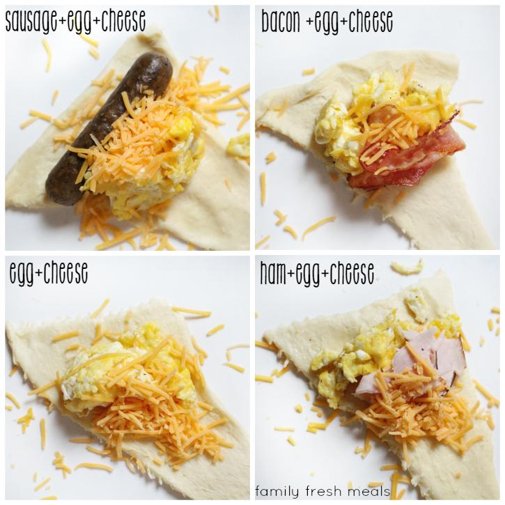 Easy Breakfast Bites - Step 1 - different fillings -  FamilyFreshMeals.com