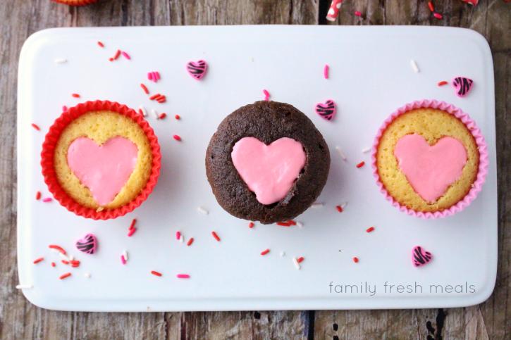 Easy Heart Valentine Cupcakes -  FamilyFreshMeals.com -