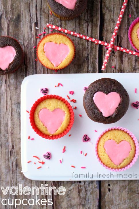 Easy Heart Valentine Cupcakes -  FamilyFreshMeals.com ---