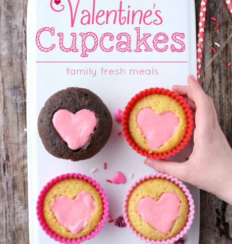 Easy Heart Valentine Cupcakes -Valentine's Day Treat Recipes