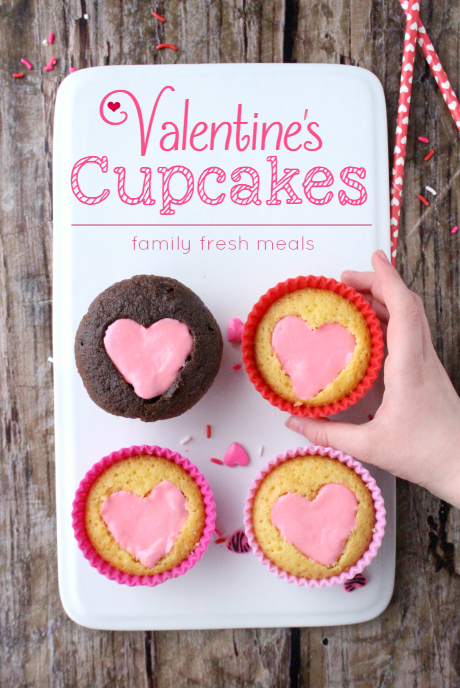 Easy Heart Valentine Cupcakes - FamilyFreshMeals.com - Perfect for Valentine's Day!