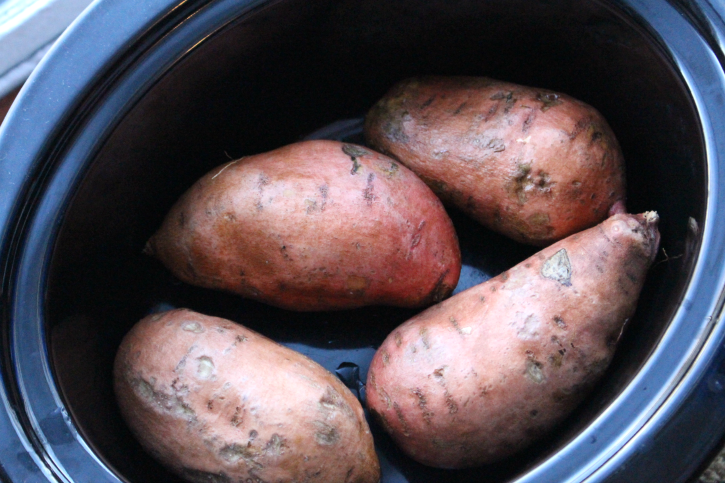 How to make Crockpot Sweet Potatoes - sweet potatoes in a slow cooker