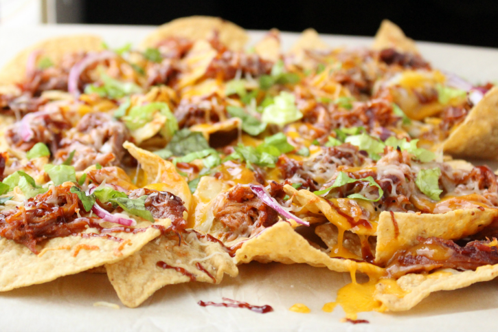 Pulled Pork Nachos - the best appetizer for football season -- FamilyFreshMeals.com -