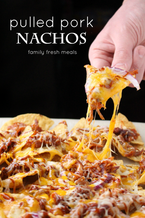 Pulled Pork Nachos - the best appetizer for football season. FamilyFreshMeals.com