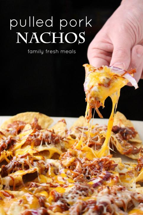 Pulled Pork Nachos - the best appetizer for football season. FamilyFreshMeals.com