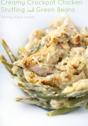 Creamy Crockpot Chicken Stuffing and Green Beans