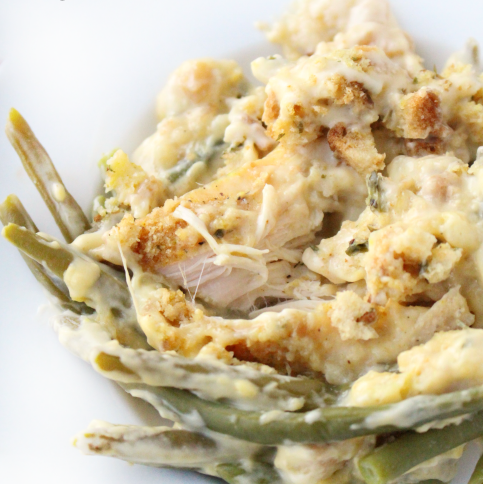 Creamy Crockpot Chicken Stuffing and Green Beans - FamilyFreshMeals.com --