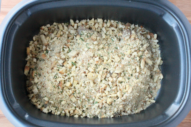 Creamy Crockpot Chicken Stuffing and Green Beans - dry stuffing added into slow cooker