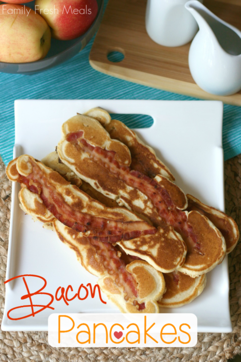 Stack of Bacon Pancakes on a white plate
