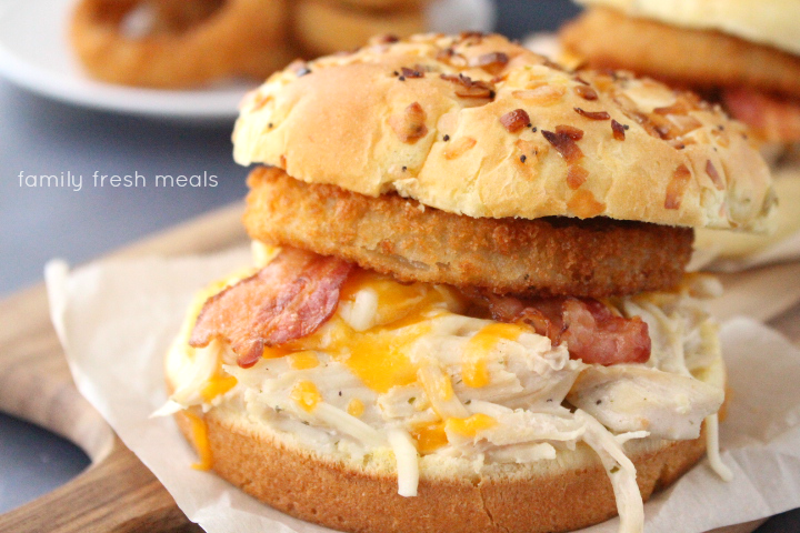 Crockpot Bacon Ranch Chicken Sandwiches - Slow cooker chicken recipe - Family Fresh Meals