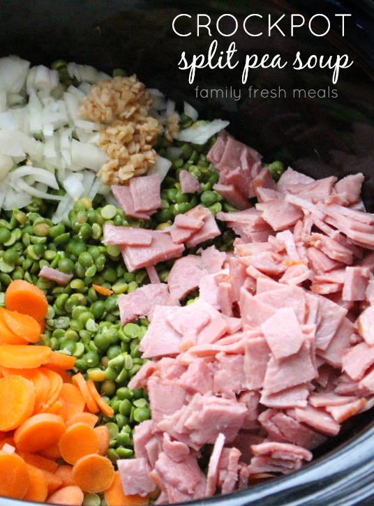 Ingredients for Crockpot Split Pea Soup in a slow cooker